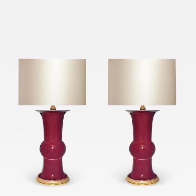 Oxblood Glazed Porcelain Lamps