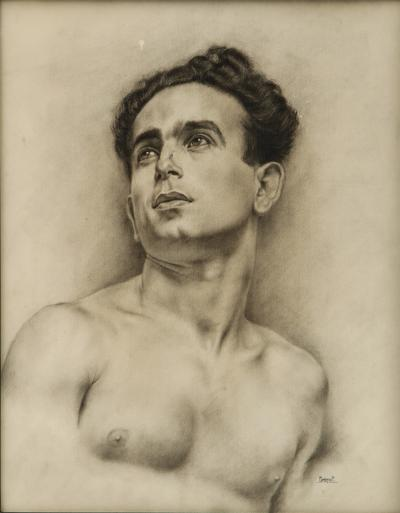 P Bonamini Charcoal Drawing of a Young Man