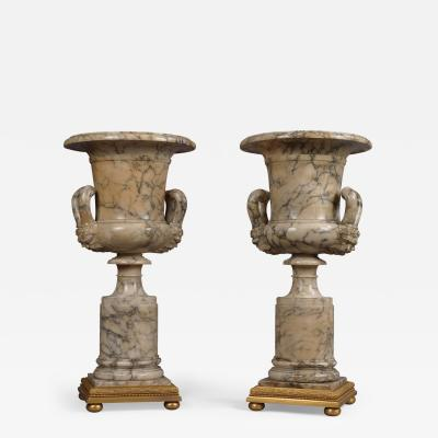 P E Guerin A Pair of Neoclassical Style Alabaster Vases