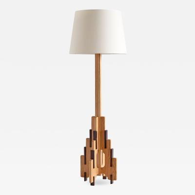 P E L Izeren P E L Izeren Floor Lamp in Oak and Macassar Netherlands 1932