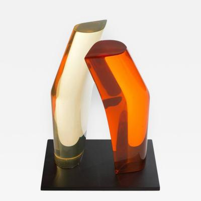 P Snead Modernist Orange and Yellow Lucite Sculpture by P Snead