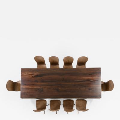 P Tendercool 10 Top Dining Table Reclaimed Wood Bronze Chairs by P Tendercool