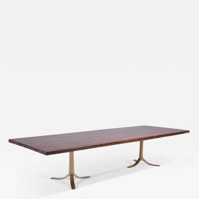 P Tendercool 12 Person Reclaimed Hardwood Table Sand Cast Brass Base by P Tendercool