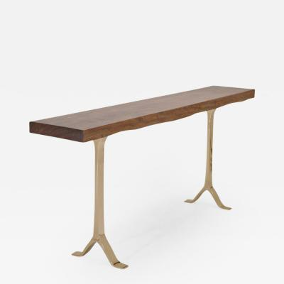 P Tendercool Antique Hardwood Console Table on Sand Cast Base by P Tendercool