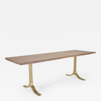 P Tendercool Antique Hardwood Console Table on Sand Cast Brass Base by P Tendercool