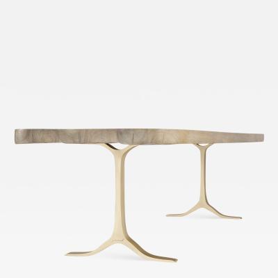 P Tendercool Bespoke Bleached Reclaimed Hardwood Dining Desk on Brass Base by P Tendercool