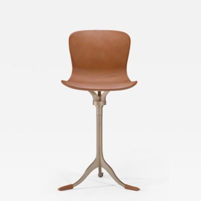 P Tendercool Bespoke Counter Height Swivel Chair Leather and Brass by P Tendercool