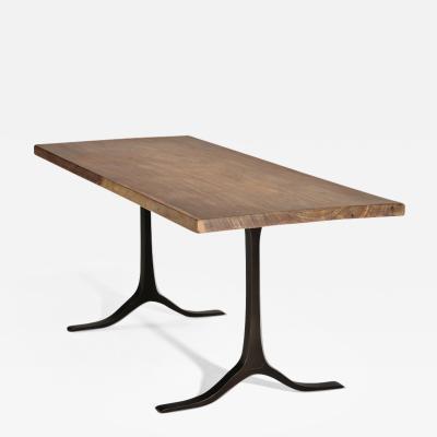 P Tendercool Bespoke Desk Antique Hardwood Slab on Sand Cast Bases by P Tendercool