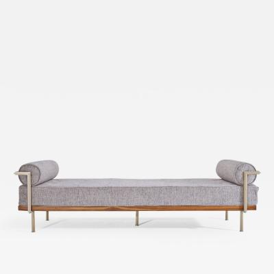 P Tendercool Bespoke Double Daybed in Reclaimed Hardwood and Solid Brass Frame P Tendercool