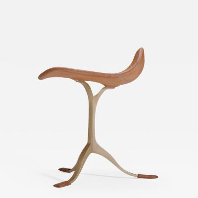 P Tendercool Bespoke Leather Chair with Hand Cast Brass Base by P Tendercool