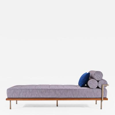 P Tendercool Bespoke Outdoor Daybed Reclaimed Hardwood and Solid Brass Frame by P Tendercool