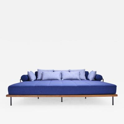 P Tendercool Bespoke Outdoor Lounge Bed in Reclaimed Hardwood Brass Frame by P Tendercool