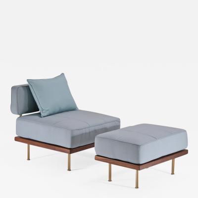 P Tendercool Bespoke Outdoor Lounge Chair and Ottoman Reclaimed Hardwood by P Tendercool