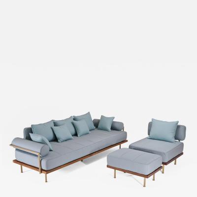 P Tendercool Bespoke Outdoor Sofa Set in Reclaimed Hardwood Brass Frame by P Tendercool