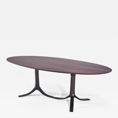 P Tendercool Bespoke Oval Table Reclaimed Hardwood with Brown Brass Base by P Tendercool