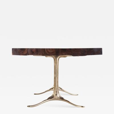 P Tendercool Bespoke Reclaimed Hardwood Table with Bronze Polished Base by P Tendercool