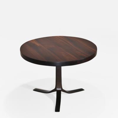P Tendercool Bespoke Round Table Reclaimed Hardwood Brass Base by P Tendercool on Sale
