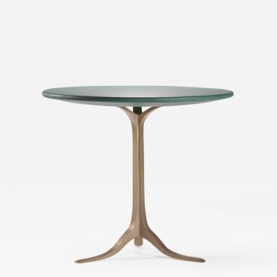 P Tendercool Bespoke Round Table Wood Covered Leather Brass Base by P Tendercool