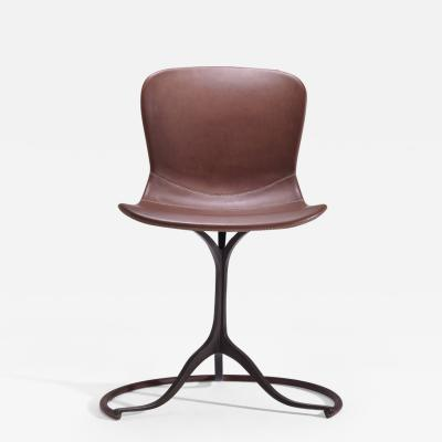 P Tendercool Bespoke Sand Cast Brass Chair in Truffe Leather by P Tendercool