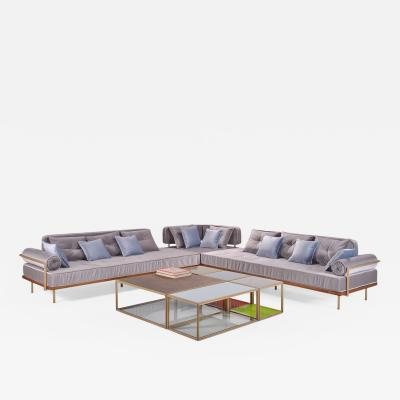 P Tendercool Bespoke Sectional Sofa with Brass and Reclaimed Hardwood by P Tendercool