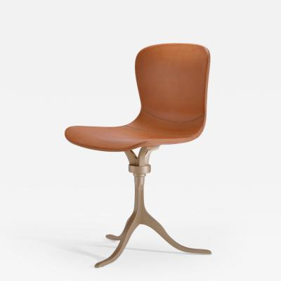 P Tendercool Bespoke Swivel Leather Chair with Hand Cast Brass Base by P Tendercool
