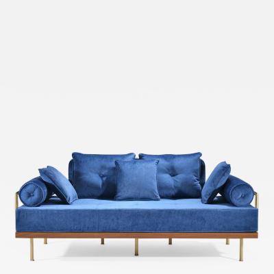 P Tendercool Bespoke Two Seat Sofa in Reclaimed Hardwood and Brass Frame