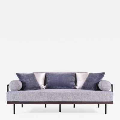 P Tendercool Bespoke Two Seat Sofa in Reclaimed Hardwood and Brass Frame by P Tendercool