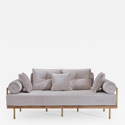 P Tendercool Bespoke Two Seat Sofa with Brass and Reclaimed Hardwood Frame by P Tendercool