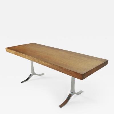 P Tendercool Bespoke Writing Table Antique Hardwood Slab Sand Cast Base by P Tendercool
