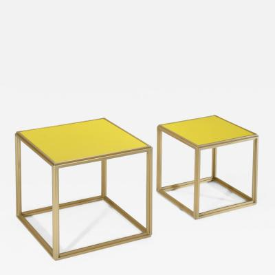 P Tendercool Collection of Two Brass Low Tables Leather Top One of a Kind by P Tendercool