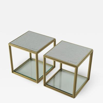 P Tendercool Collection of Two Modular Brass Low Tables Sandcast Aluminum Textured White Top
