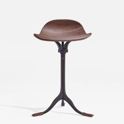 P Tendercool Counter Height Swivel Stool Truffe Leather Brown Brass by P Tendercool