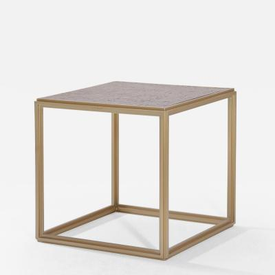 P Tendercool Cubist Bronze and Brass Occasional Square Table by P Tendercool