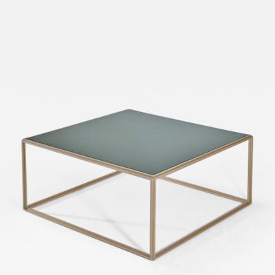 P Tendercool Cubist Glass and Brass Occasional Square Table by P Tendercool