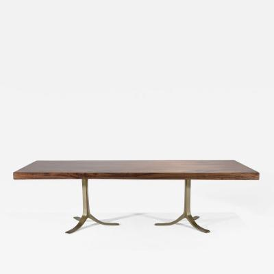 P Tendercool Eight Seat Bespoke Hardwood Table on Solid Brass Base by P Tendercool