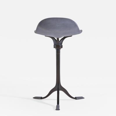 P Tendercool Four Counter Height Swivel Stools Pigeon Leather Brown Brass by P Tendercool