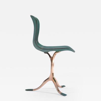 P Tendercool Green Emerald Leather and Sand Cast Polished Bronze Chair