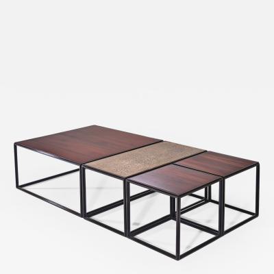 P Tendercool Modular Brass Bronze and Wood Low Table by P Tendercool
