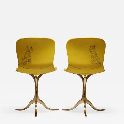P Tendercool Pair of Sand Cast Bronze Chairs Aur le Yellow Tattooed Leather in Stock
