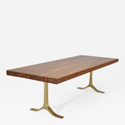 P Tendercool Reclaimed Hardwood Table Sand Cast Brass Base by P Tendercool