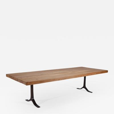 P Tendercool Reclaimed Hardwood Table Sand Cast Bronze Base by P Tendercool
