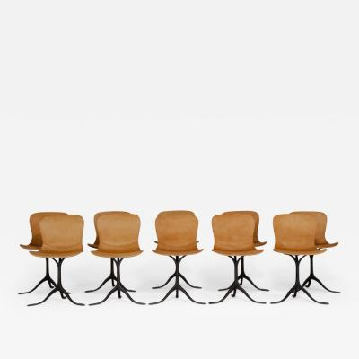 P Tendercool Set of 10 Brass and Leather Chairs by P Tendercool