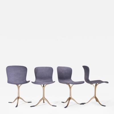 P Tendercool Set of 4 Grey Leather and Golden Sand Cast Brass Chairs by P Tendercool