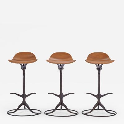 P Tendercool Set of Bespoke High Bar Leather Stools in Marron Glac by P Tendercool