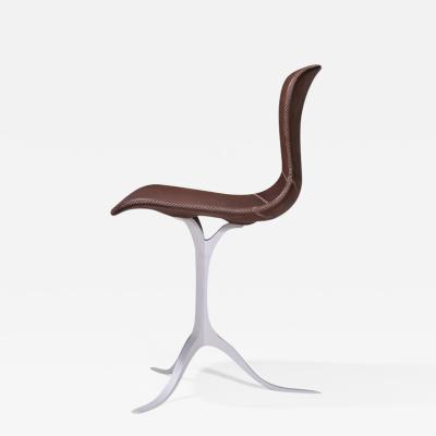 P Tendercool Set of Bespoke Leather Chairs Hand Cast Brass Base by P Tendercool in Stock