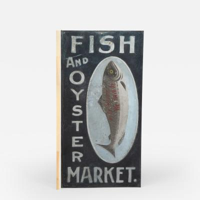 PAINTED TRADE SIGN FISH AND OYSTER MARKET