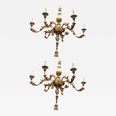 PAIR 18TH C TUSCANO PAINTED GILT WOOD 6 LITES CHANDELIERS