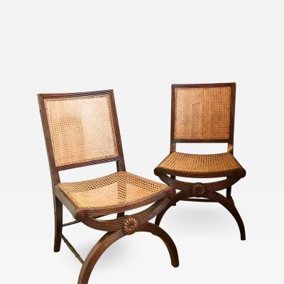 PAIR EARLY REGENCY SIDE CHAIRS ENGLISH CIRCA 1810