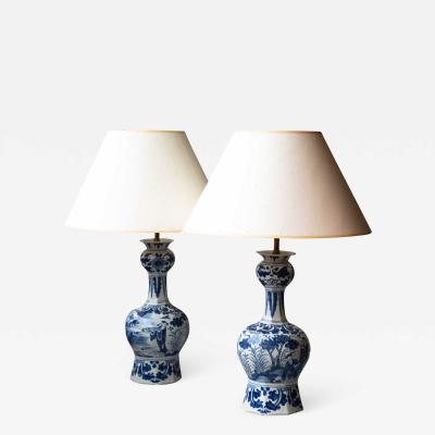 PAIR OF 18TH CENTURY DELFT VASES CONVERTED TO LAMPS