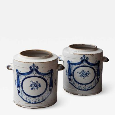 PAIR OF 18TH CENTURY FAIENCE POTS PHARMACIE